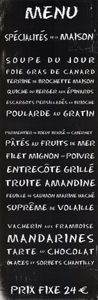 Framed Transit Menu French Print