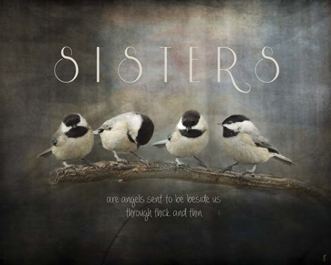Framed Sisters Chickadees Print