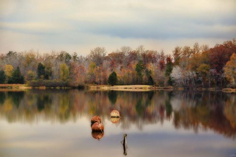Framed Autumn At Lake LaJoie 3 Print
