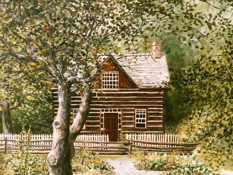 Framed Log House Upper Canada Village Print