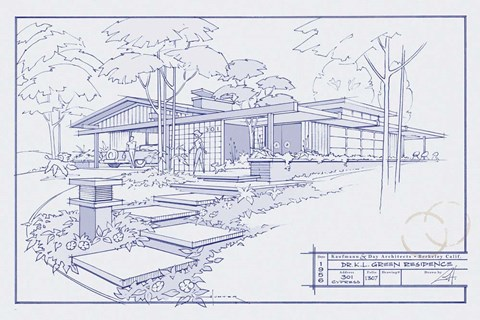 Framed 301 Cypress Dr. Blueprint Print