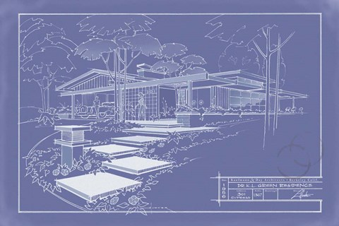 Framed 301 Cypress Dr. Blueprint - Inverse Print