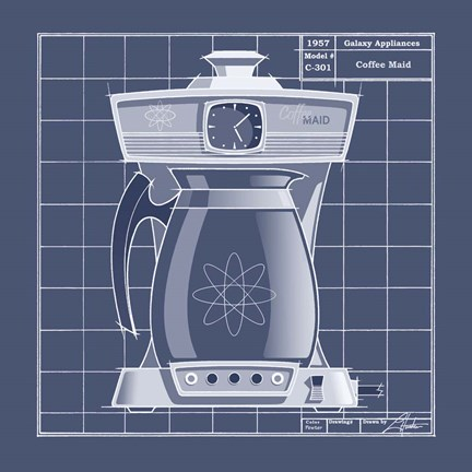 Framed Galaxy Coffeemaid - Blueprint Print