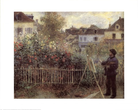 Framed Monet Painting In His Gard Print