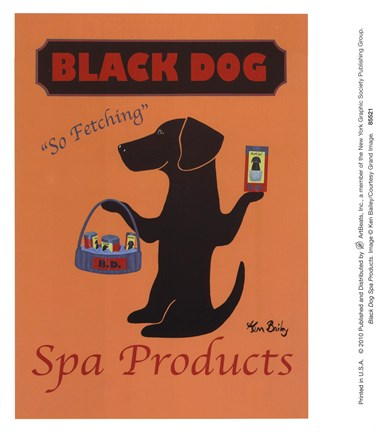 Framed Black Dog Spa Products Print