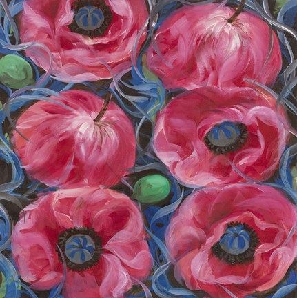 Framed Six Pink Poppies Print
