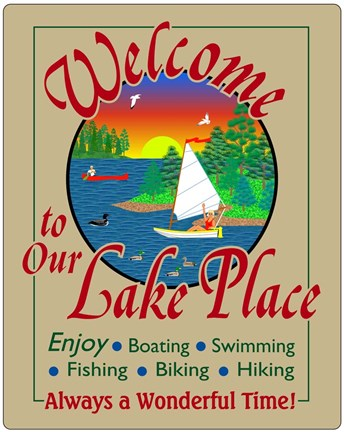 Framed Welcome to Our Lake Place Print