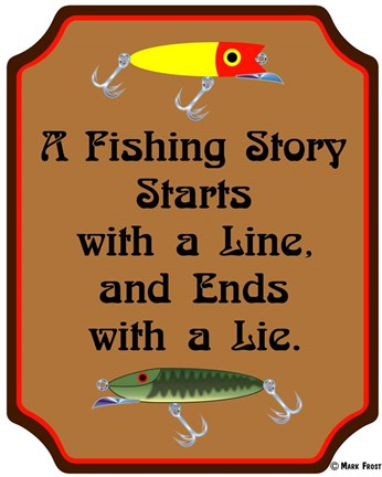 Framed Fish Story Line Lie Print