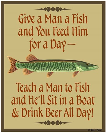 Framed Give Teach Fish Beer Print