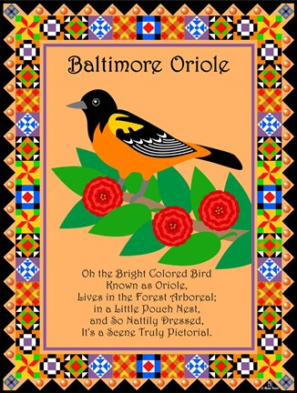 Framed Baltimore Oriole Quilt Print