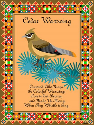 Framed Waxwing Quilt Print