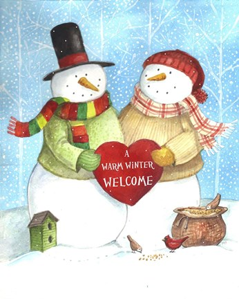 Framed Warm Welcome Snowman Print