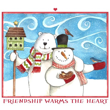 Framed Snowman Bear Friendship Print