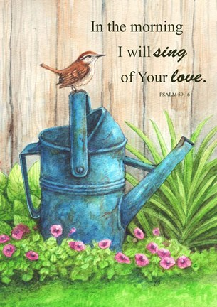 Framed Wren Watercan, Psalm Print