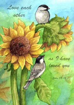 Framed Sunflower And Chickadee Print