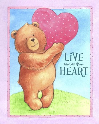 Framed Bear Live With Heart Print