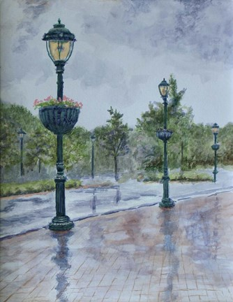 Framed Lamp Posts Print