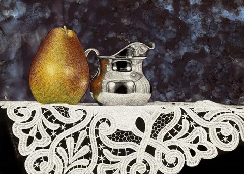 Framed Pear And Silver Creamer Print