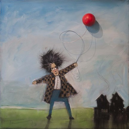 Framed Man With Balloon Print