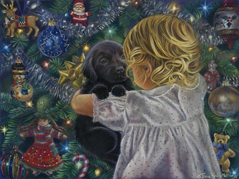 Framed Puppy For Christmas Print