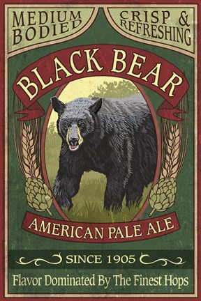Framed Black Bear Pale Ale Print