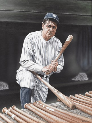 Framed Babe Ruth On Deck Print
