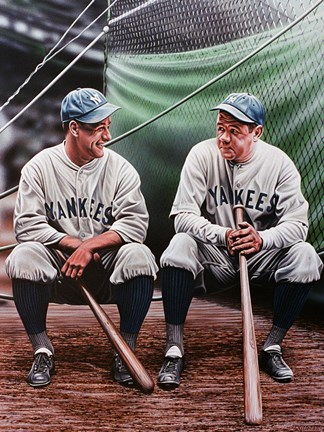 Framed Babe Ruth and Lou Gehrig Print