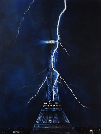 Framed Lightning Eiffel Tower Print