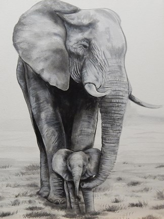 Framed Elephant Love Print