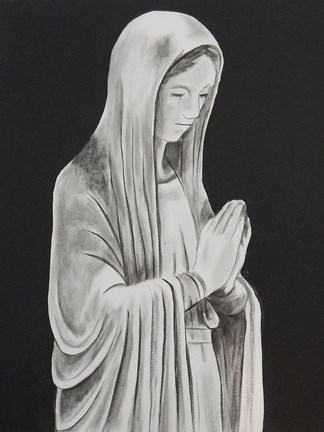 Framed Mother Mary Statue Print