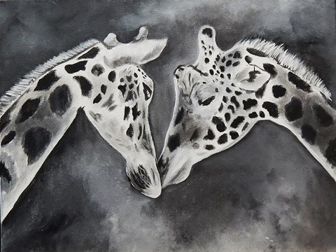 Framed Kissing Giraffe Print