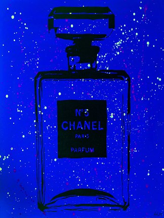 Framed Chanel Pop Art Blue Chic Print