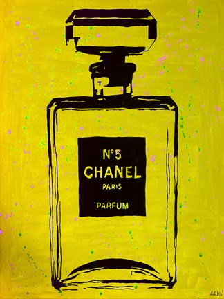 Framed Chanel Pop Art Yellow Chic Print