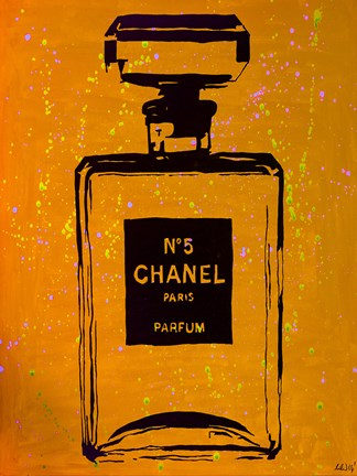 Framed Chanel Pop Art Orange Chic Print