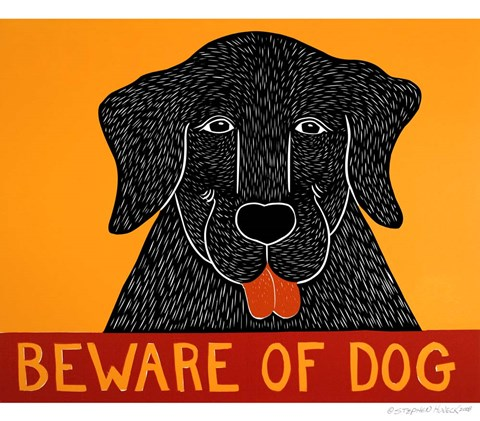 Framed Beware of Dog Black Print