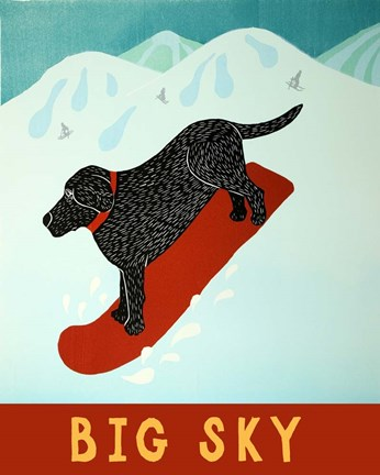 Framed Big Sky Snowboard Black Print