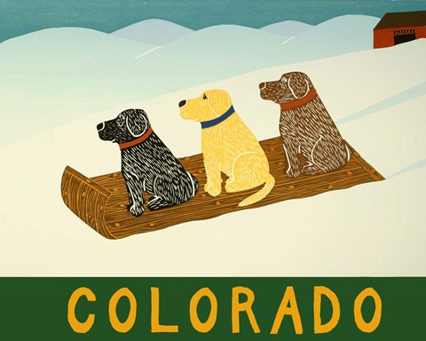 Framed Colorado Sled Dogs Print