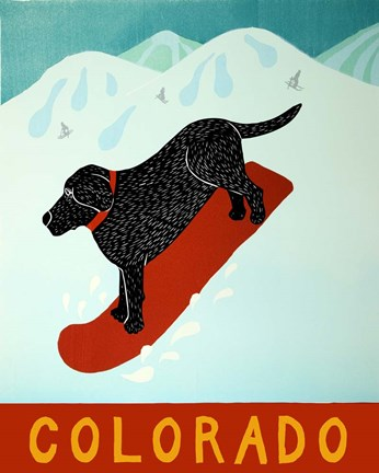 Framed Colorado Snowboard Black Print