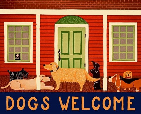 Framed Dogs Welcome HSH II Print