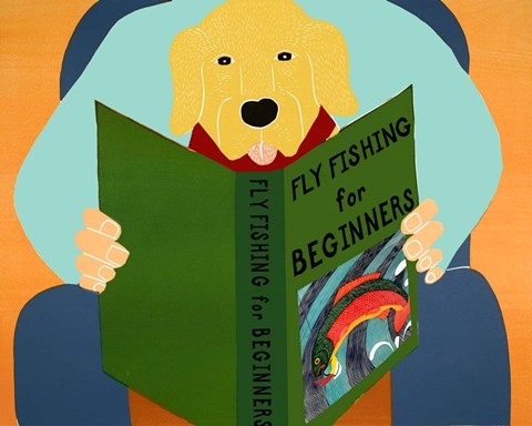 Framed Fly Fishing For Beginners yellow Print
