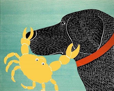 The Crab Black Dog Yellow Crab Fine Art Print By Stephen