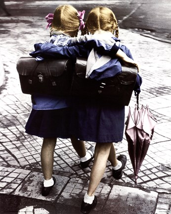 Framed School Girls - Walking and Embracing Print
