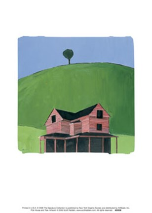 Framed Pink House and Tree Print