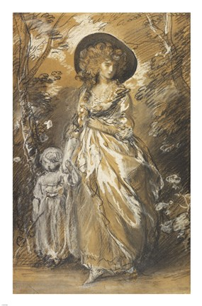 Framed Lady Walking in a Garden with a Child Print
