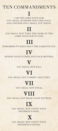 Framed Ten Commandments - Roman Numerals Print