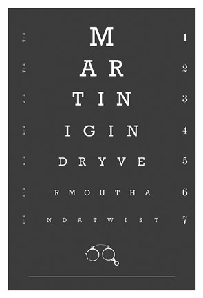 Framed Eye Chart Martini Print
