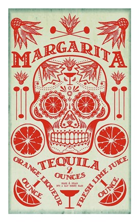Framed Margarita Recipe Print
