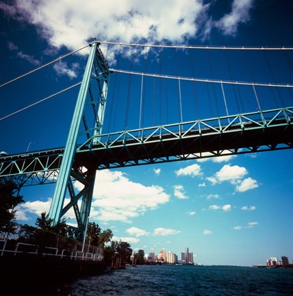 Framed Ambassador Bridge, Detroit River, Michigan Print