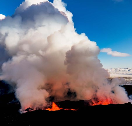 Framed Volcano Eruption at the Holuhraun Fissure, Bardarbunga Volcano, Iceland. Print