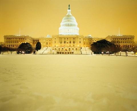 Framed US Capitol Building during Snow Storm, Washington DC Print